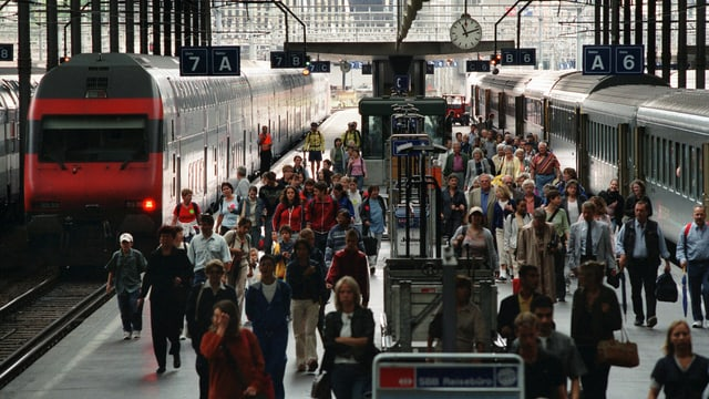Leute am Bahnhof Luzern