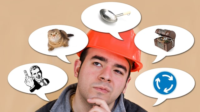 Ein Mann denkt an Katze, Schöpfkelle, Schatz, Kreisel und Stinkefinger.