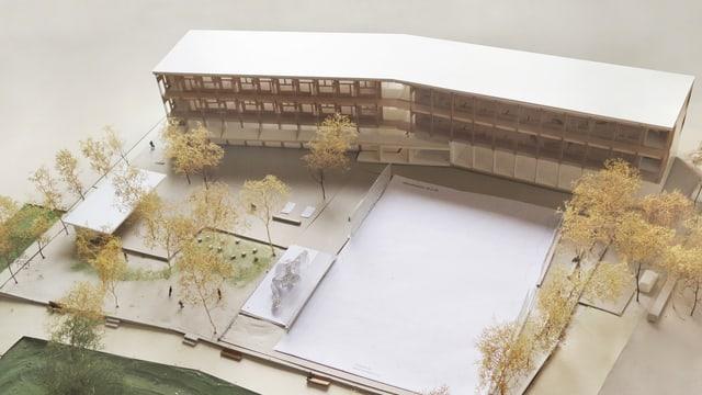Modell der neuen Schulanlage Pfingstweid in Zürich-West