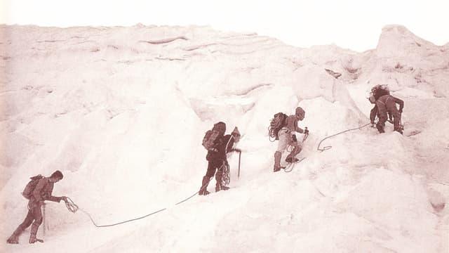Mitglieder des Alpenclubs Gerliswil erklimmen einen Gletscher.
