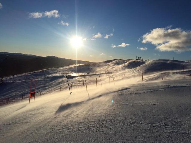 Starke Windböen in Kvitfjell.