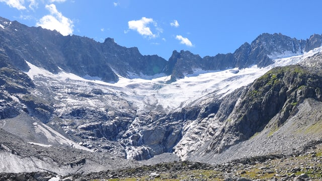 Bergkette im Sommer mit breiter Eisfläche, darunter zuerst kahles Gestein. Das Gestein am unteren Bildrand ist mit Gräsern und Moosen bewachsen.
