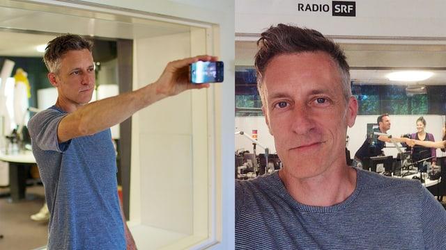 Lucius Müller schiesst ein Selfie vor dem Sendestudio von SRF 3.