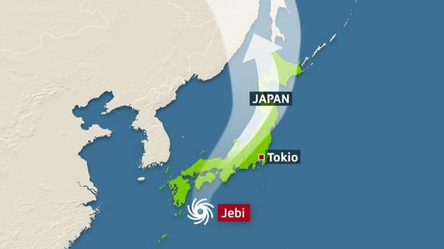 Karte mit Weg vom Taifun.