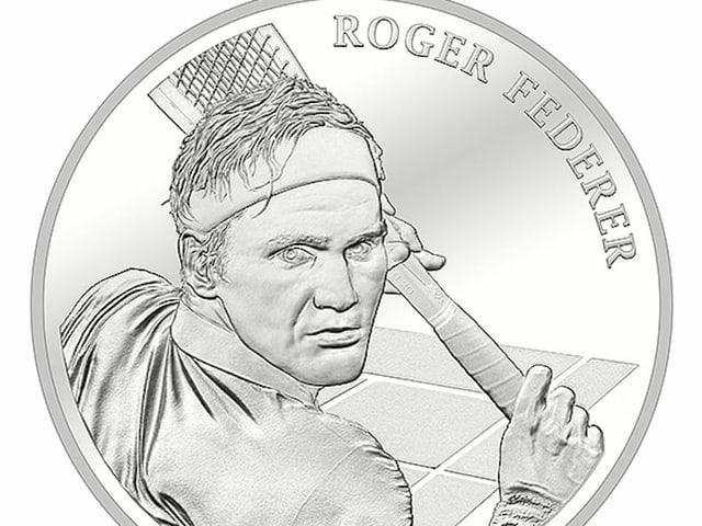 Silbermünze von Roger Federer.