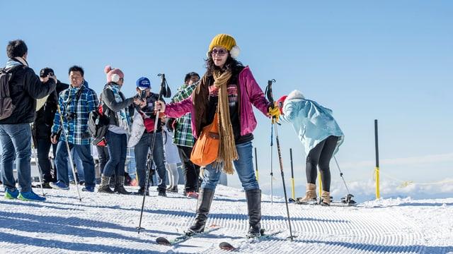 Turista chinaisa sin skis