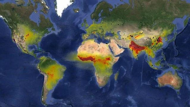 Eine Weltkarte mit Punkten.