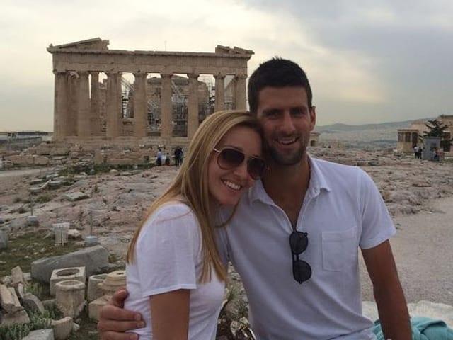 Novak Djokovic mit seiner Jelena in Griechenland.