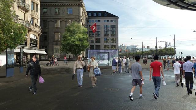 Visualisierung des Metro-Eingangs auf dem Schwanenplatz.