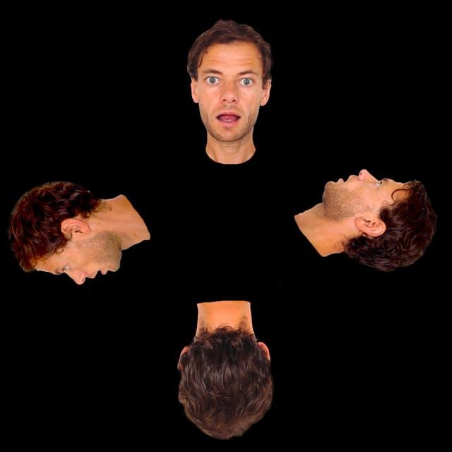 Das Protrait eines Mannes von vorne, von hinten und von den Seiten, im Kreis vor einen schwarzen Hintergrund montiert.