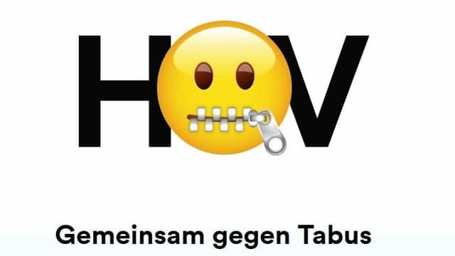 """Emoticon und Schriftzug """"Gemeinsam gegen Tabus"""""""