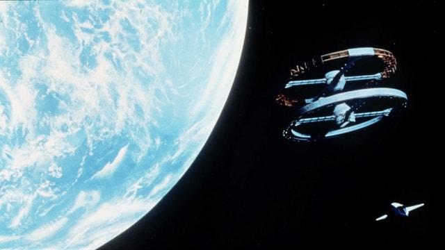 Weltall mit Raumschiff