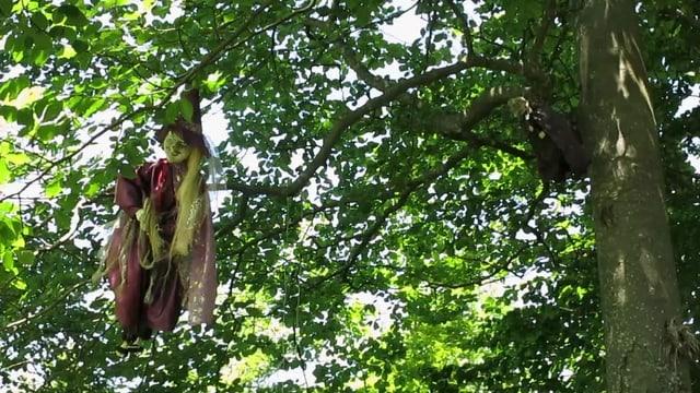 Auf dem «Häxeblätz» selber hängen überall Hexen-Figuren in den Bäumen