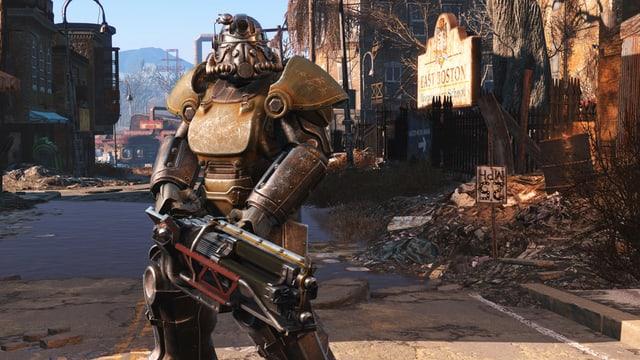Ein hochgerüsteter Soldat vor zerstörter Stadt.