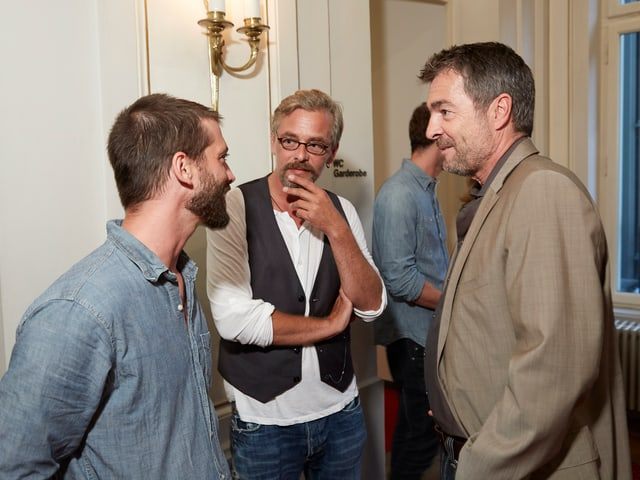 Dominik Haefeli, Franz Moser und Stefan Gubser im Gespräch.