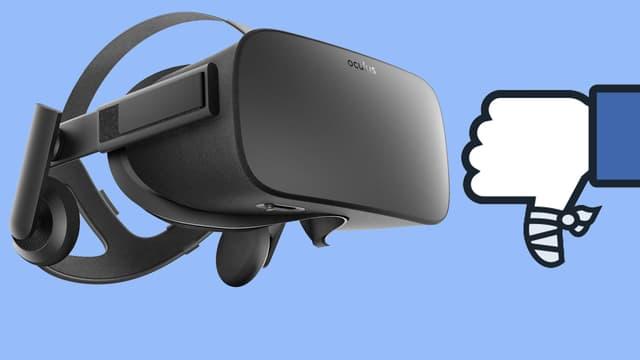 Eine Oculus-VR-Brille, daneben ein Facebook-Like-Daumen, der nach unten zeigt.