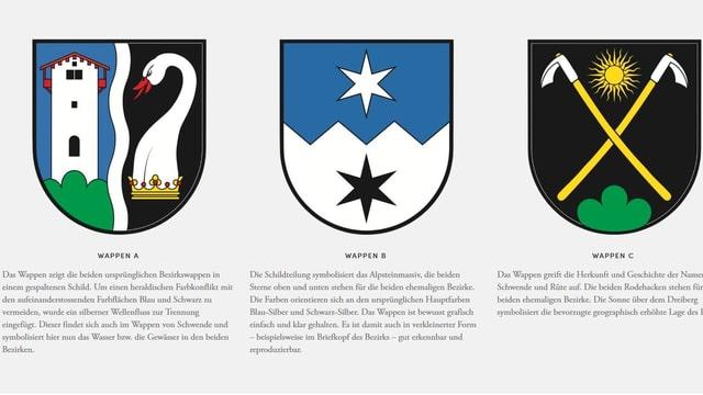Die drei möglichen Wappen der fusionierten Bezirke Schwende und Rüte.
