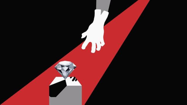 Illustration: Eine Hand greift nach einem Diamanten auf einem Sockel.