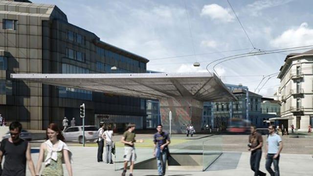 Visualisierung des Bahnhofplatzes Winterthur mit einem grossen Dach in Pilzform.