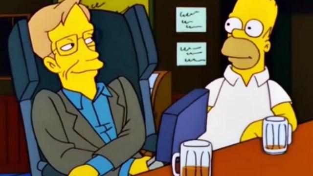 Hawking sitzt als Comic-Figur neben Homer Simpson.