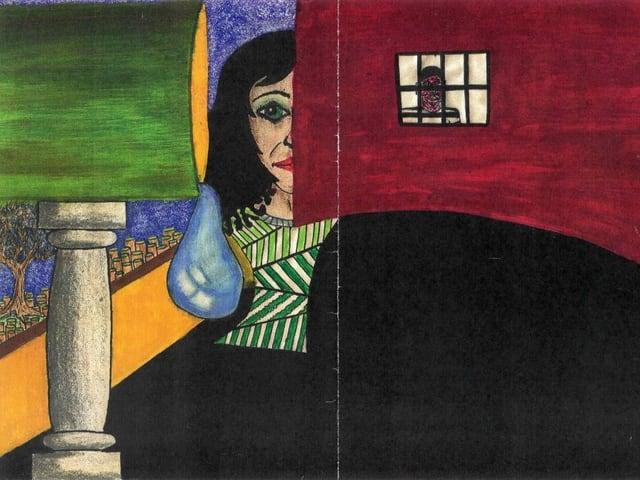 Gemaltes buntes Bild, unter anderem zu sehen: Eine Frau, ein Mann hinter Gittern, eine Träne.