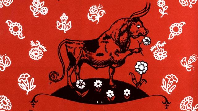 Das Bild zeigt Ferdinand auf dem Cover vom Buch Ferdinand, das 1936 erschien.