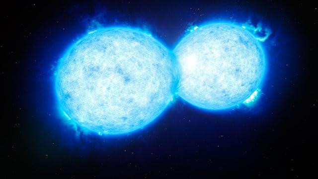 Künstlerische Darstellung von zwei Sternen, die miteinander verbunden sind.