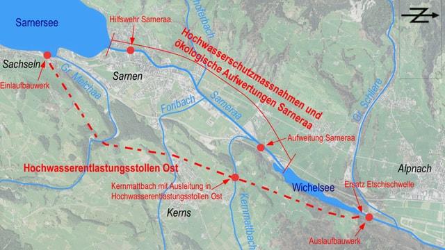 Übersichtskarte zum Hochwasserschutzprojekt im Obwaldner Sarneraatal.
