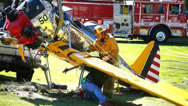 Das Flugzeug-Wrack, mit dem Harrison Ford vor zwei Jahren in Kalifornien abgestürzt ist.