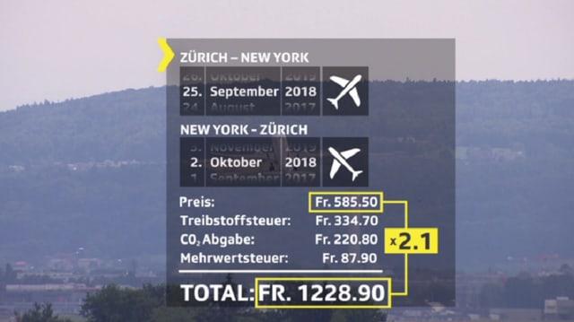 Berechnung tatsächliche Flugpreise.