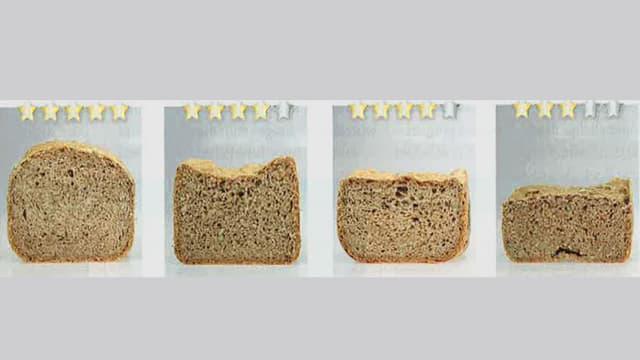 Vier Brote mit unterschiedlichen Aufgehergebnissen.