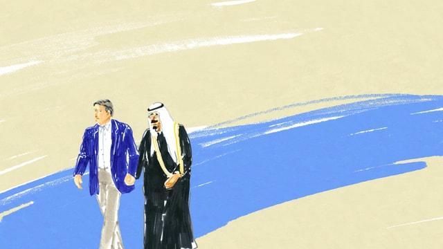 eine Zeichnung von zwei Männern, die Hand in Hand gehen