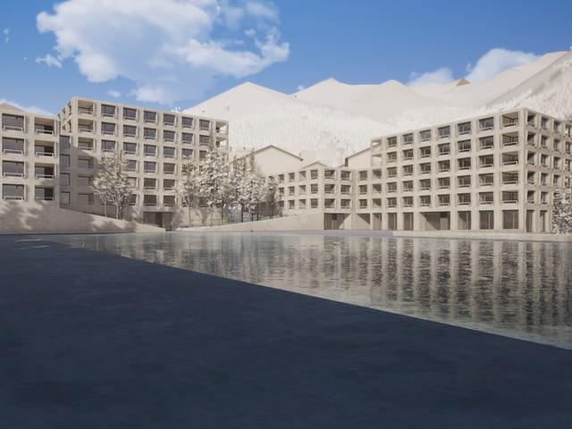Hotelbau mit Wasserbecken