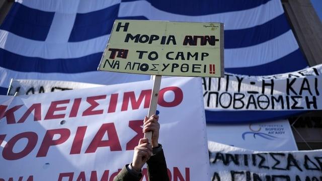 Protest gegen neue Flüchtlingslager in Moria