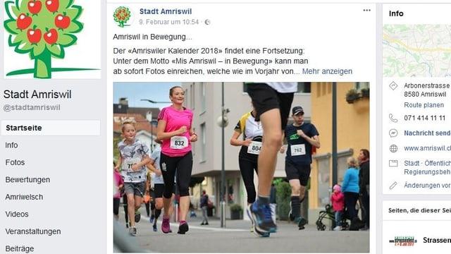 Facebook Auftritt Stadt Amriswil