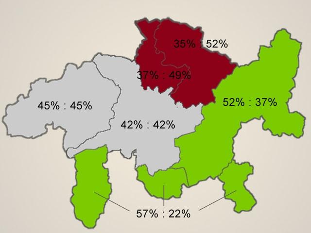 Karte von Graubünden mit eingefärbten Regionen