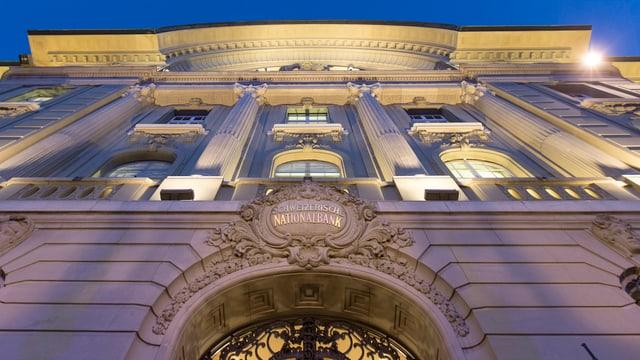 Aufnahme der Fassade der Schweizerischen Nationalbank.