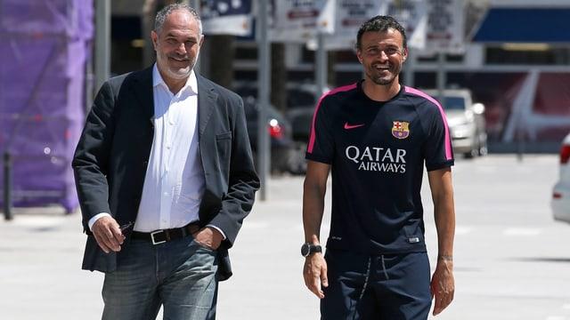 Andoni Zubizarreta (links) und Luis Enrique