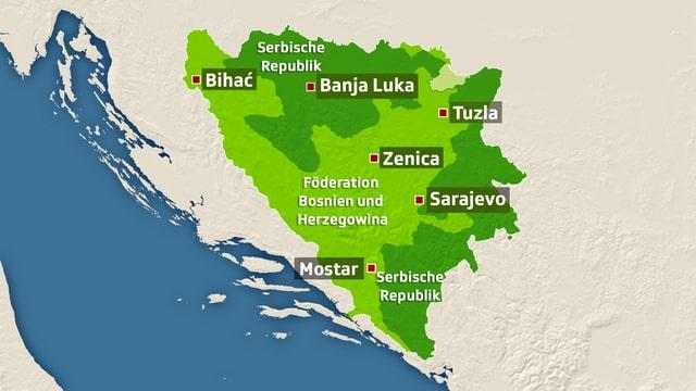 Landkarte von Bosnien und Herzegowina