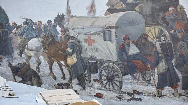 Gemälde-Ausschnitt mit Rotkreuz-Pferdegespann
