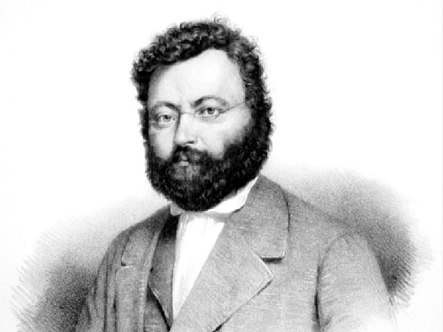 Schwarz-weiss-Zeichnung eines bärtigen Herren mit Brille