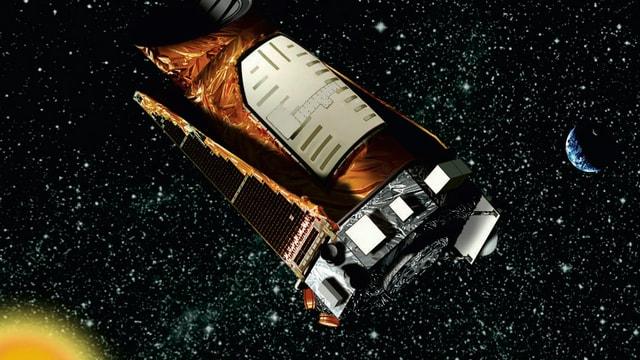 Das Kepler-Teleskop im All auf einer künstlerischen Darstellung, die von der Raumfahrtbehörde Nasa stammt.