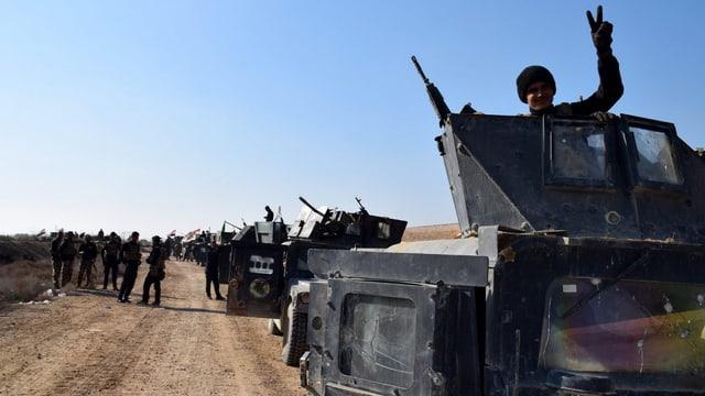 Irakische Soldaten feiern Fortschritte im Kampf um Ramadi.