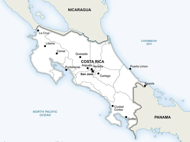 Politische Karte Costa Ricas