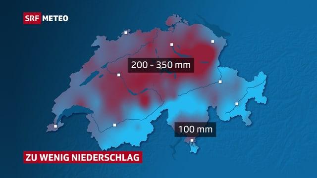 Die Schweizerkarte zeigt in Blau- und Rottönen wo zu wenig und wo genügen Regen viel. Das Mittelland und die Voralpenregionen der Zentral- und Ostschweiz stechen dabei besonders ins Auge.