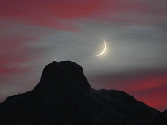 Abendrot mit Mond.