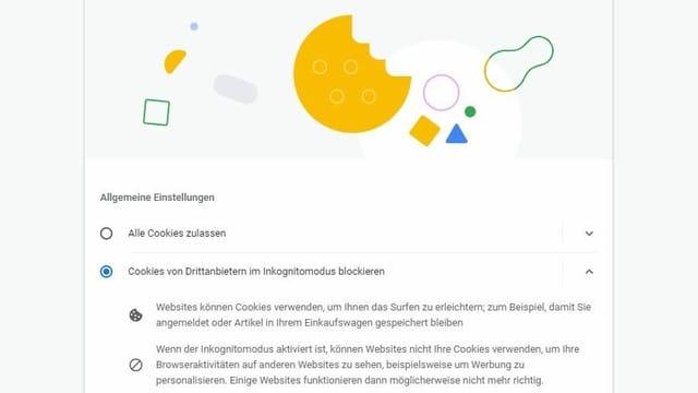 Bildschirmfoto der Einstellungen in Google Chrome