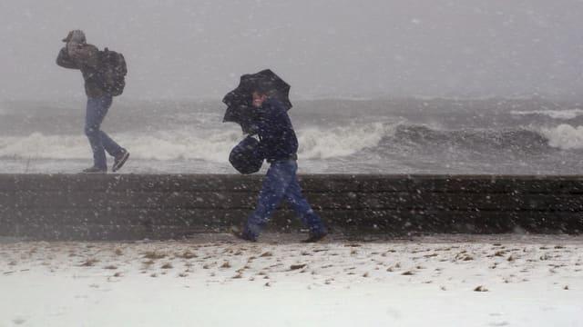 Zwei Männer laufen bei stürmischen Verhältnissen an der Ostküste der USA. Im Hintergrund das aufgewühlte Meer.