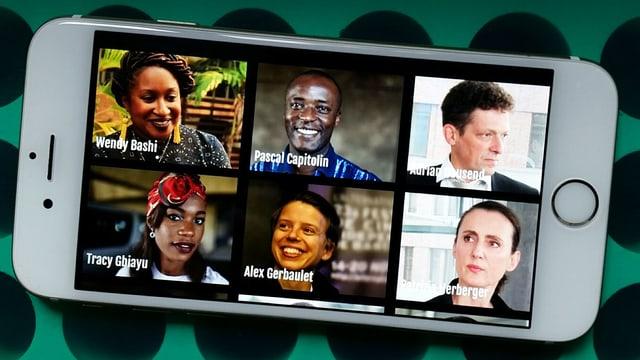 Sechs Porträtbilder auf einem Handy.