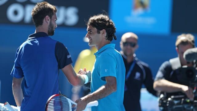 Bei den Australian Open 2013 musste Benoît Paire Roger Federer zum Sieg gratulieren.